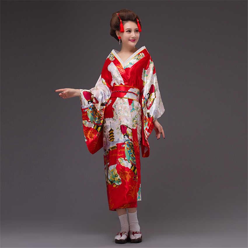 41355ad0e ... Silk Satin Vintage Dress Women Sexy Kimono Yukata with Obi Japanese  Cosplay Costume Performance Ancient Tradition ...
