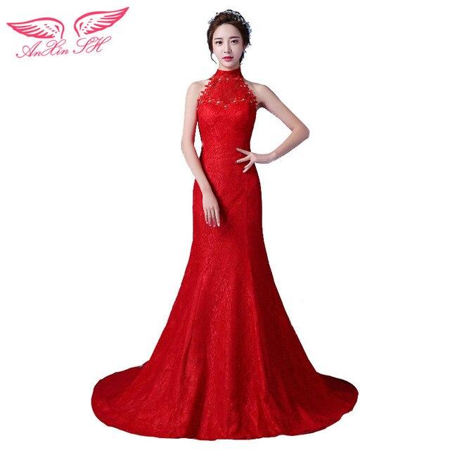 AnXin SH venta caliente vestido de boda de la princesa roja novia de ...