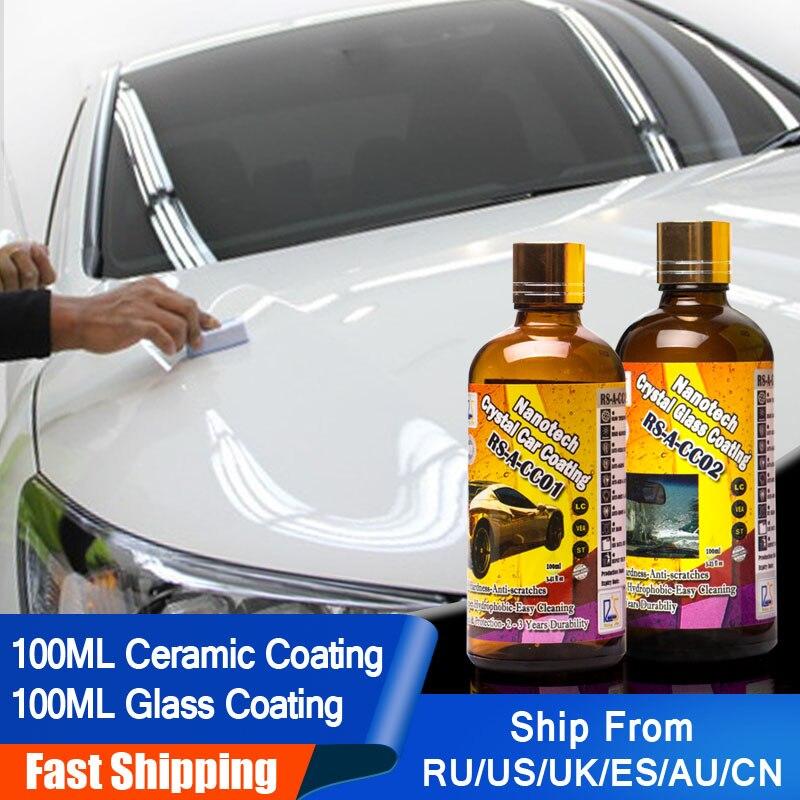 Étoile montante RS-A-CC0102 Liquide Verre Nano Hydrophobe En Céramique Revêtement De Soins De Voiture Cristal De Voiture et Verre Revêtement 200 ml Kit pour DIY utilisation