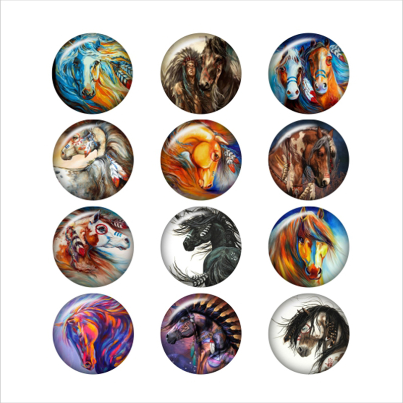 Charm Bracelets Jewelry & Accessories Official Website Horse Glass Snap Button For Snaps Jewelry Round Photo Cabochons Da1071 Selling Well All Over The World