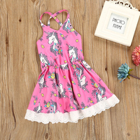 BRWCF 2018 New Brand Sleeveless Cute Dressed In Unicorns Cartoon Pattern For Little Baby Girls Dress
