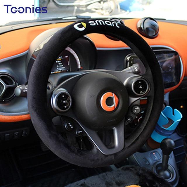 Winter Soft Plush Car Steering Wheel Cover Smart Fortwo Anti Slip Handlebar Covers Letter Logo Auto