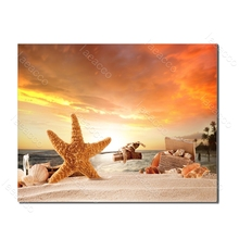 Laeacco Beach Starfish Sunrise Summer Holiday Posters and Prints Wall Artwork Canvas Painting For Living Room Home Decor