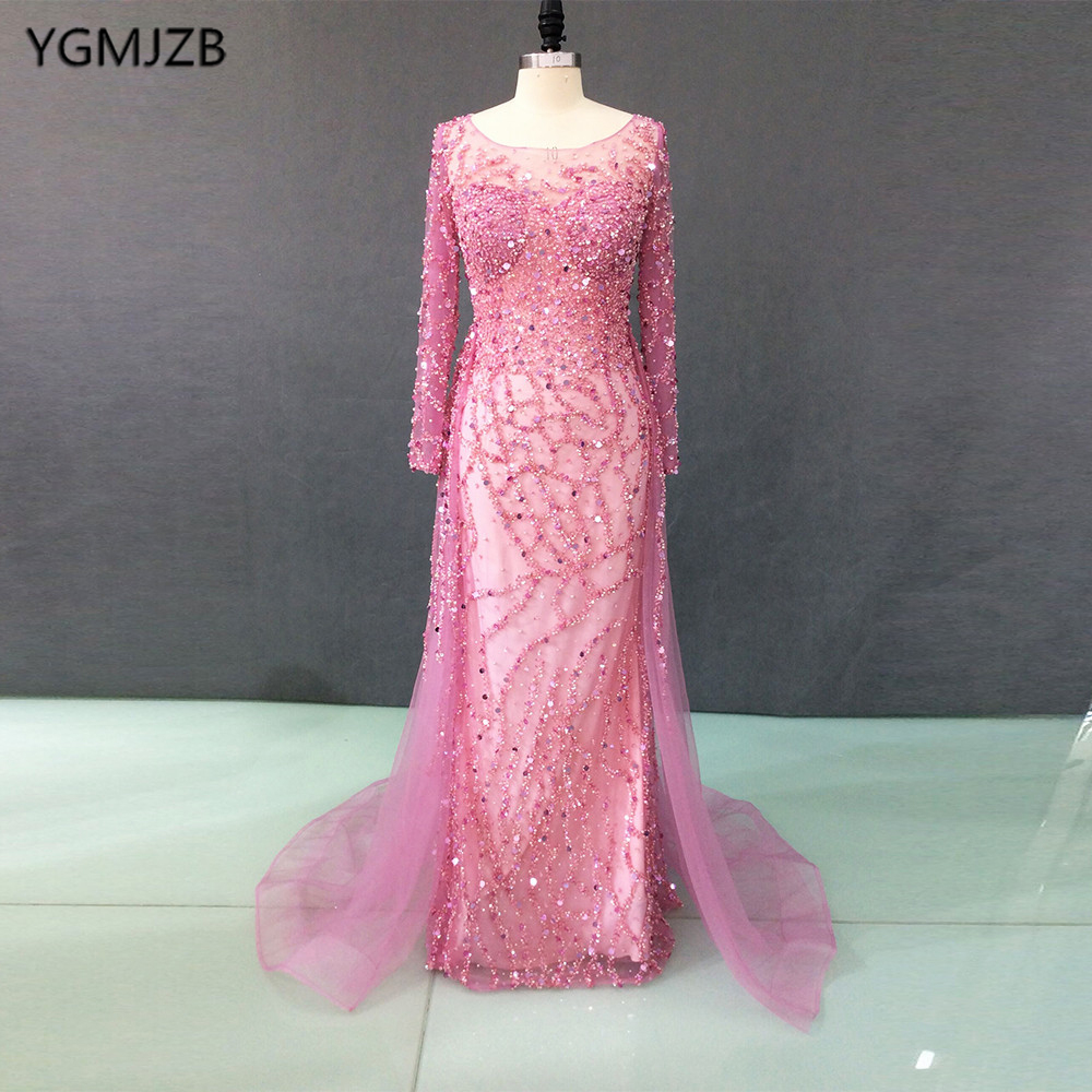 Heavy Beading Pink Evening Dresses 2018 New Mermaid Long Sleeves ...