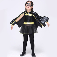 Новинка девушки бэтмен косплей набор 4 шт. для детей платье глаза маски перчатки черный плащ дети хеллоуин костюм одежда костюм FC064