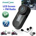 2016 New Updated Version!! Motorcycle Motorbike BT Bluetooth Multi Interphone Headset Helmet Intercom with LCD screen + FM Radio