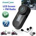 2016 Nueva Versión Actualizada!! Moto de la motocicleta BT Bluetooth Headset Multi Interphone Del Intercomunicador Del Casco con pantalla LCD + Radio FM