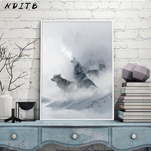 NDITB Snow Mountain Wolf Landscape Poster Nordic Style Canvas Art Print Painting  Wall Picture for Living Room Modern Home Decor