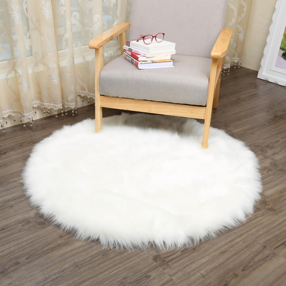 MUZZI Round Sheepskin Chair Cover Seat Pad Soft Carpet