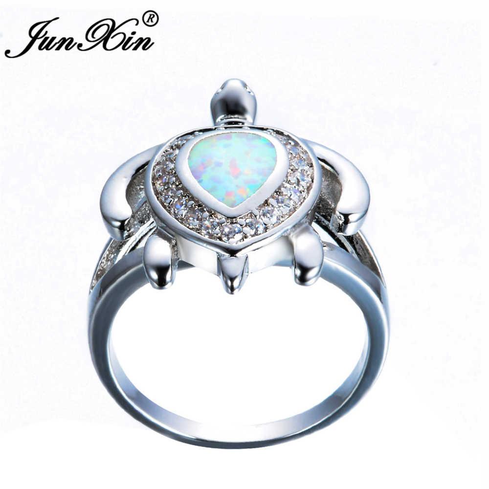 Бренд junxin женское кольцо с белым огненным опалом модное кольцо с черепахой Золотое ювелирное изделие в виде животных винтажные Свадебные Кольца для женщин