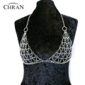 Chran New Women Sexy Silver Gold Tone Mesh Body Chain Bra Slave Harness V Necklace Crystal Waist Jewelry Women Gifts  DDBC1021