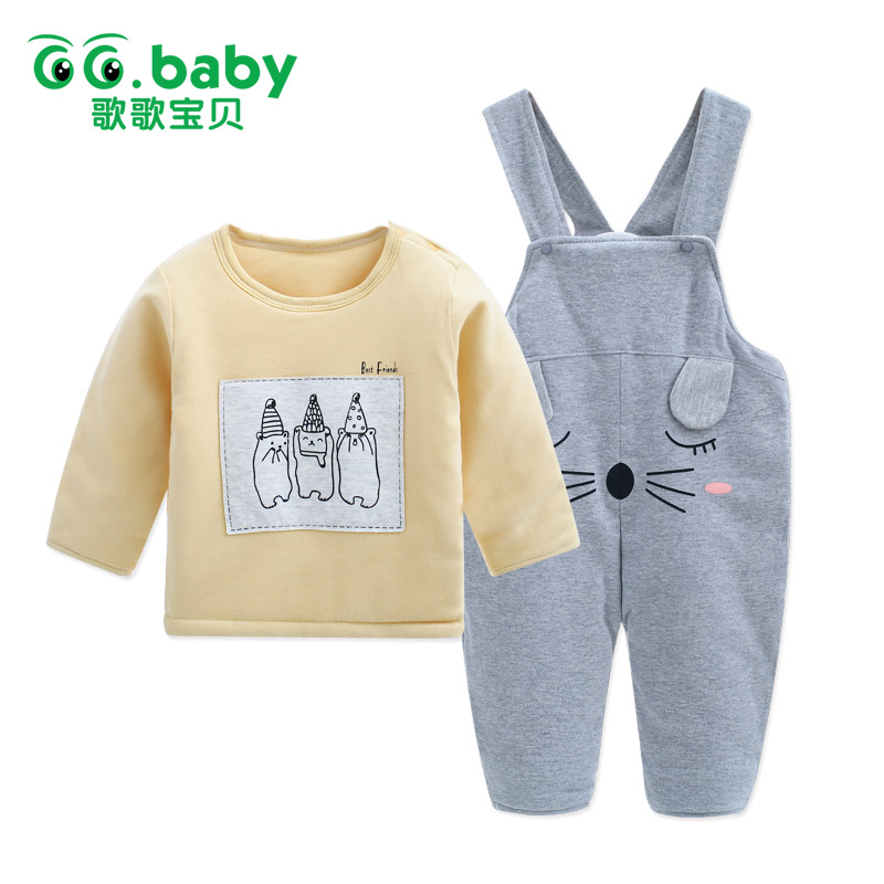 Hot Thermal Newborn Baby Boys Clothing Sets Winter Long Sleeve Suspender Pants Set Outfit For Babies Baby Girl Clothes Set Suit
