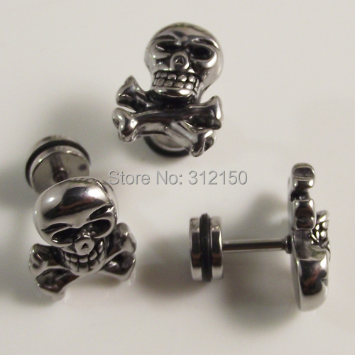 SaYao 12pcs (6pairs) Fashion Earrings,High Quality Stainless Steel Stud Earrings,Skull Man Punk Men Earring ...