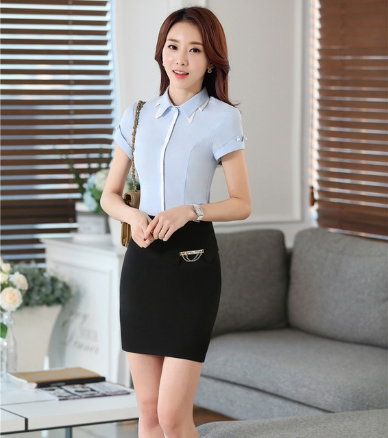 d62bbad017 New Fashion Ladies Office Formal Uniform Styles Professional Work Suits  Tops And Skirt Female Shirts Outfits Blouses Sets-in Skirt Suits from  Women's ...