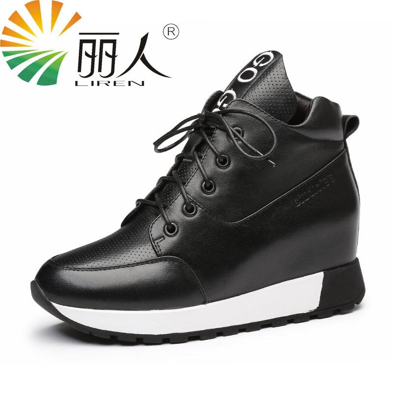 LIREN Genuine Leather Solid Black-Ankle-Boot 2017 Autumn Winter Warm Lace-Up Shoes Woman Wedge Platform Women Boots Size 33-39 цена и фото