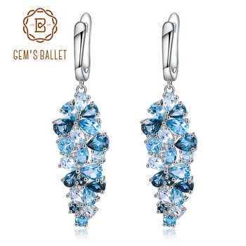 GEM'S BALLET Natural London Blue Pure Topaz 925 sterling silver Drop Earrings Mix Gemstones Earrings Fashion Jewelry For Women - DISCOUNT ITEM  45% OFF All Category