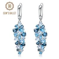 GEM'S BALLET Natural London Blue Pure Topaz 925 sterling silver Drop Earrings Mix Gemstones Earrings Fashion Jewelry For Women