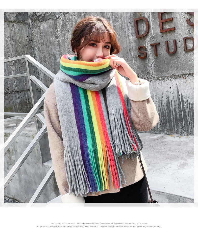 Colorful Striped Women's Scarf Long Cashmere Scarf Thick Warm Winter Scarves Female Stole Poncho Wrap Scarf Ladies Shawl