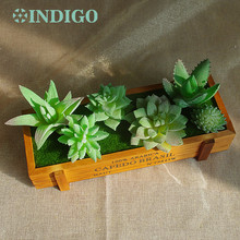 INDIGO- Green Artificial Succulent Plant (6pcs +1 Wood Tray)/Set Flower Bonsai Table Decoration Free Shipping