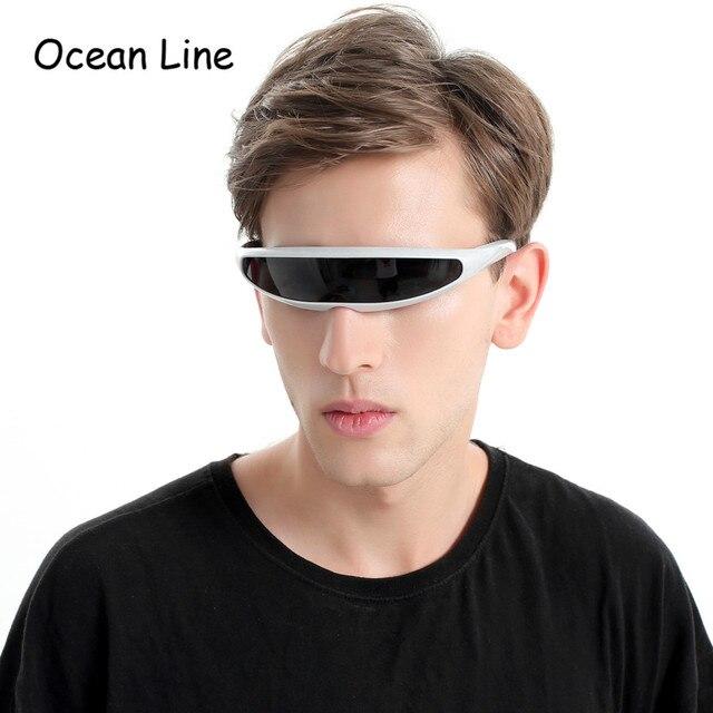 Futuristic Narrow Cyclops Sunglasses UV400 Personality Mirrored Lens Costume Eyewear Glasses Funny Party Mask Decoration 5
