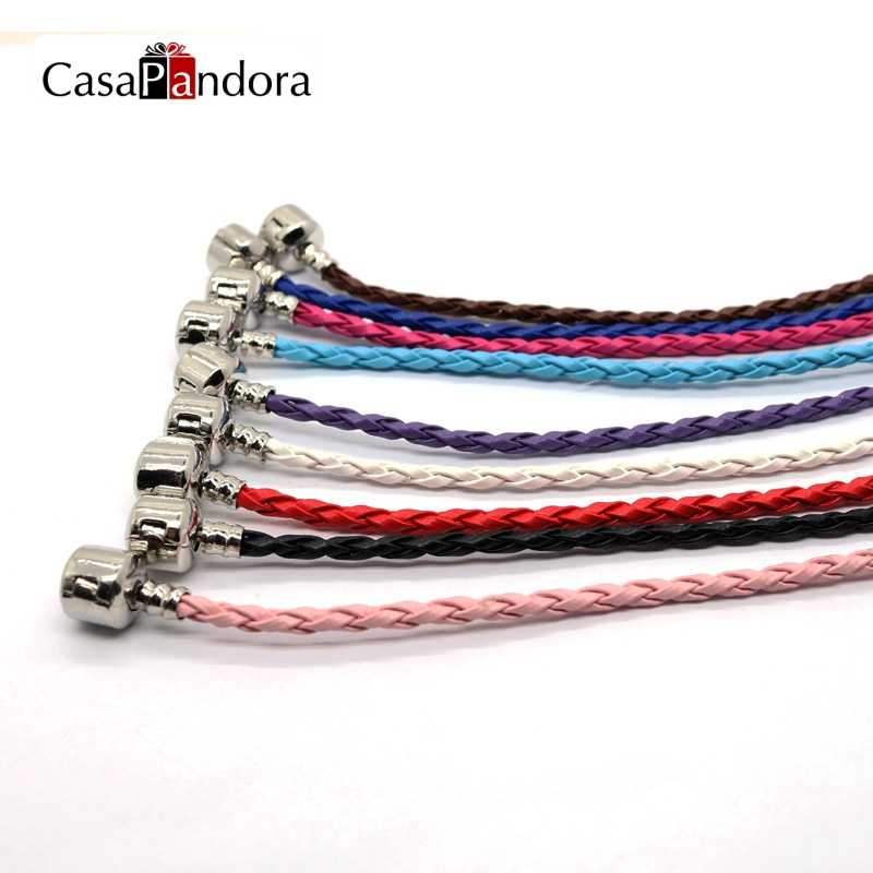 CasaPandora 9 Candy Color Silver Color Clasp Genuine Leather BraceletLeather Bracelet Fit Making Accessories DIY