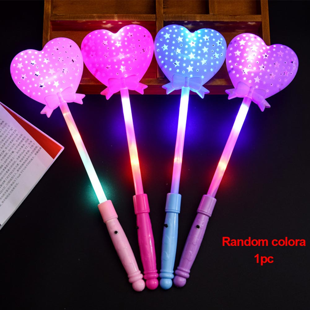 2 Pcs Luminous Princess Wand Scepter Party Led Lighting Flashing Heart Magic Stick Light Up Toy Multi Color