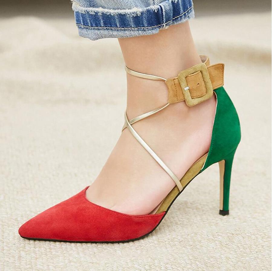 2019 Sexy Noir Dames Mélangée Suédé Stiletto Couleur Perfetto Cuir Femmes En bling Pompes Boucle Bout Chaussures Prova Haut Talon Sandales rouge Pointu Sangle CEw5qgR