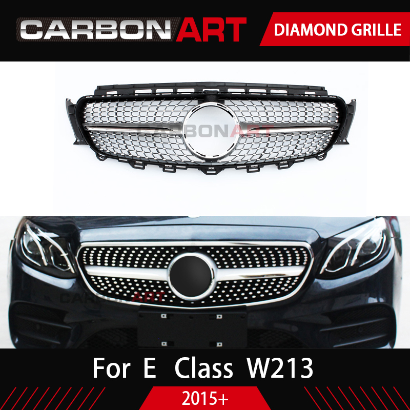 New E Class W213 Grille E43 Diamond Grill Black Silver Replacement With Camera Hole for Mercedes