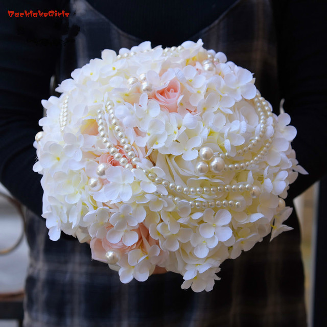 Silk Hydrangea Flower Bouquet Pearl Artificial Rose Bridal Bouquets ...