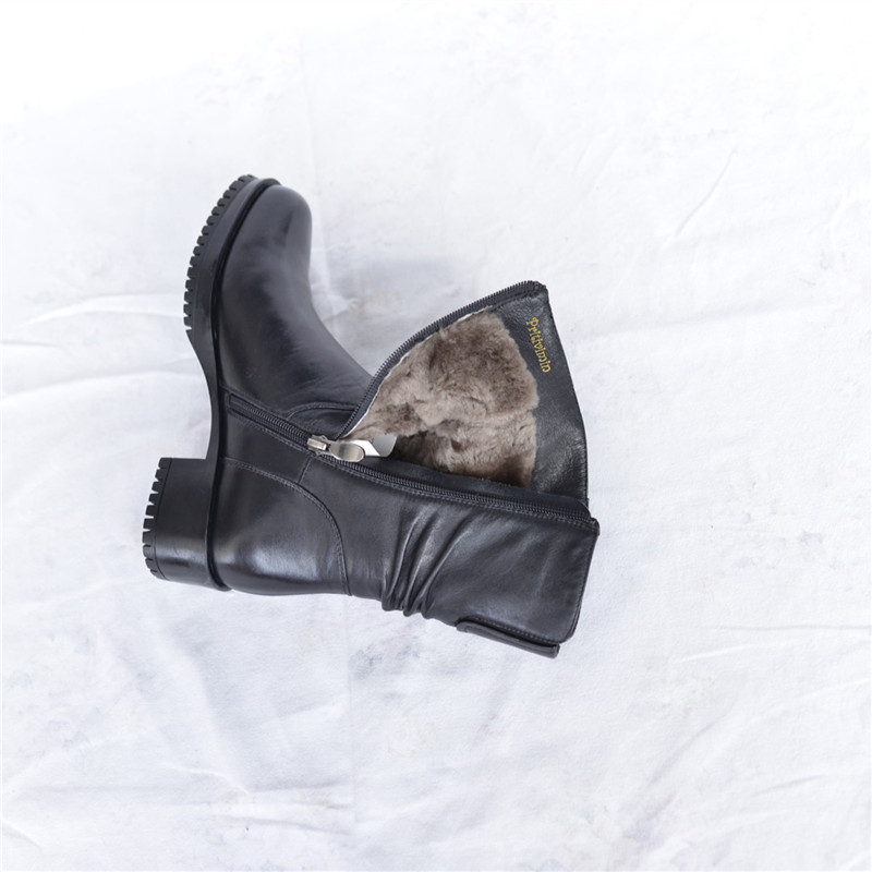Fashion winter women botas mujer shoes Ladies cow leather bottes femmes girl thick heel real wool lining boots Pritivimin FN53