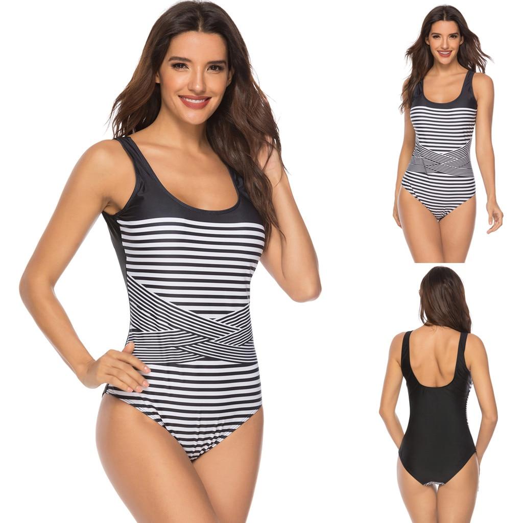 Swimming Women High Waist Stripe Swimwear Cross Strap Swimsuit Push Up Padded Bikini Vintage Mesh Swimwear Bathing Suits Bodysuit Monoki Moderate Price
