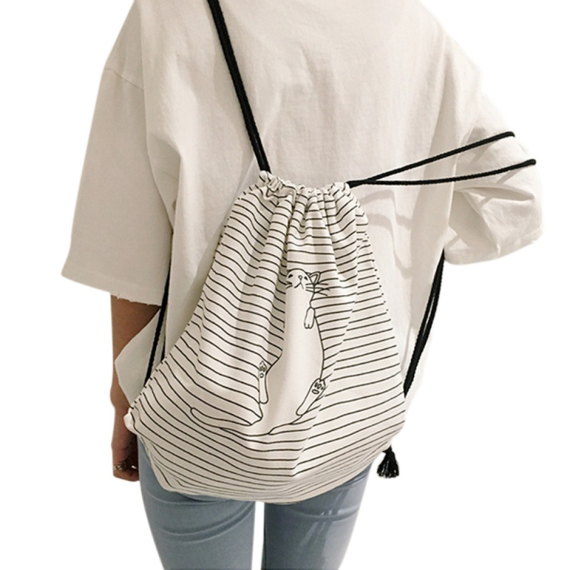 Drawstring Bags Women Stripe Canvas High Capacity Bucket Bag Backpack Shoulder Bag Fashion Casual Women Backpack 2018 New