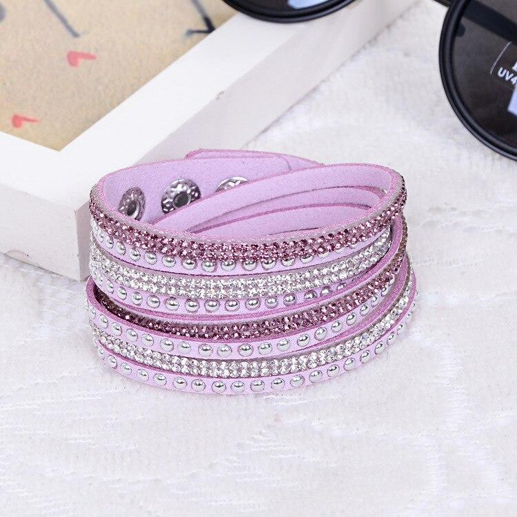 Long Rivet Leather Bracelet Rhinestone Crystal Bracelet Wraped Multilayer Bracelets for women feminino pulseras mulher Jewelry