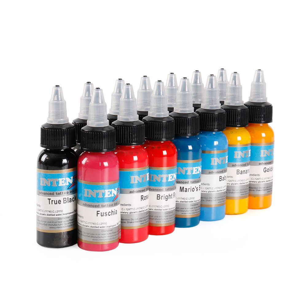 14pcs / Set Colors Bright Lasting Complete Tattoo Ink Pigment Kit Eyebrow Lip Henna Permanent Makeup Ink For Tattoos Inks Body