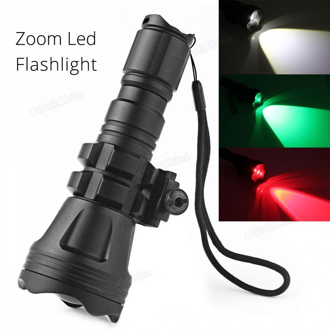 Brinyte LED Flashlight 900LM B158 Convex Lens Zoom Tactical XM-L2 U4 LED Torch Hunting Lamp with 3 Bulbs Red/ Green/ White