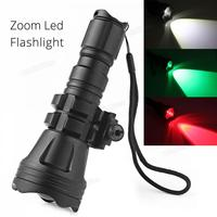 Brinyte LED Flashlight 900LM B158 Convex Lens Zoom Tactical XM L2 U4 LED Torch Hunting Lamp with 3 Bulbs Red/ Green/ White