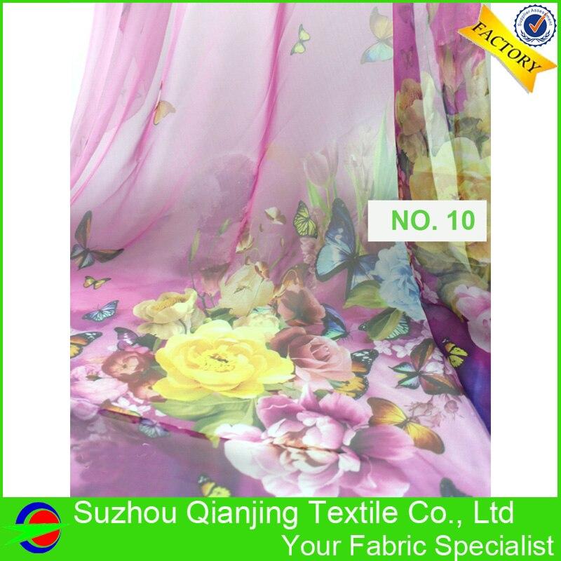 Fashionable beautiful light 24 colors print chiffon fabric