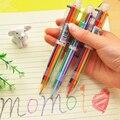 Многофункциональные пластиковые Push Тип Шесть Цветов Шариковой ручкой Красочные Инструменты Рисования