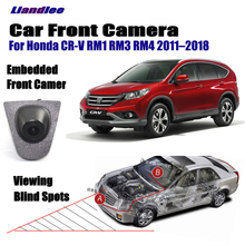 Liandlee Car Front View Camera Logo Embedded For Honda CR-V CRV RM1 RM3 RM4 2011-2018 Cigarette Lighter 4.3 LCD Monitor Screen
