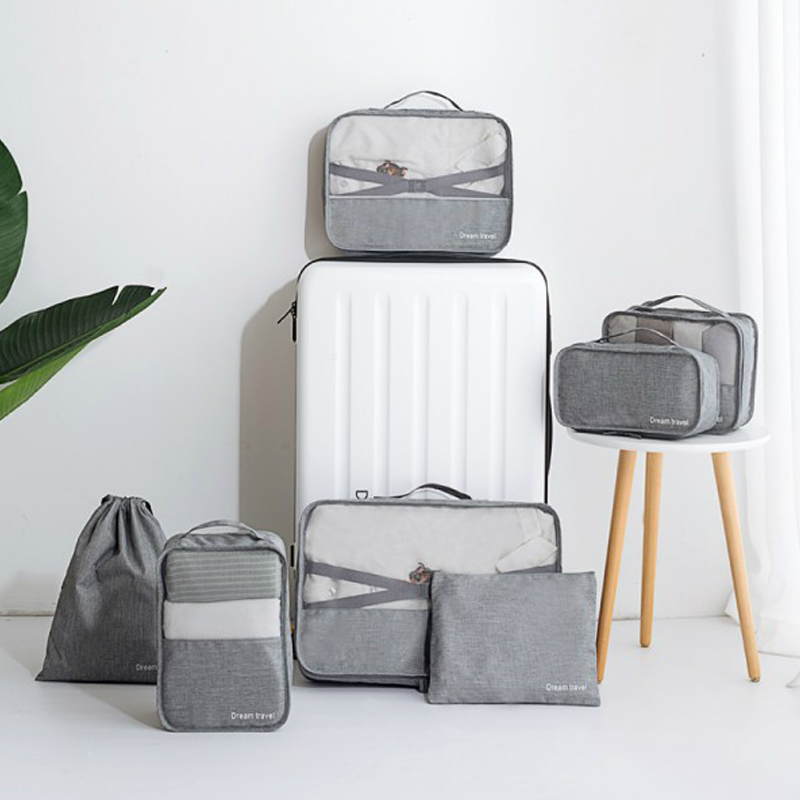 7 Pcs/Set Portable Luggage Travel Bag Ladies Clothes Underwear Sorting Organizer Large Capacity Packaging Cube Tote Accessories