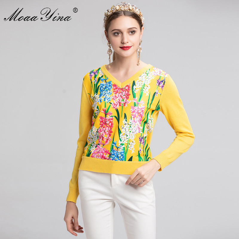 MoaaYina Fashion Designer Knitting Pullovers Sweater Spring Women Long sleeve Floral Casual Knitting Sweater Plus size