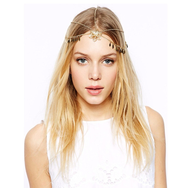6 Pcs BOHO chic forehead jewelry bijoux rhinestone flowers headband gold  head chain wedding hair accessories 846b05c3801