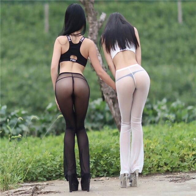 Gauze sexy transparent low-waist sexy legging  ultra-thin female elastic slim hip trousers female