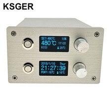 KSGER 2 в 1 T12 STM32 OLED паяльная станция горячий воздух пистолет SMD сушилка Цифровой Ремонт демонтажный инструмент ручка из алюминиевого сплава