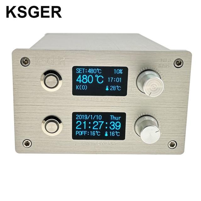 KSGER 2 In 1 T12 STM32 OLED 납땜 스테이션 핫 에어 건 SMD 건조기 디지털 재 작업 디 솔더링 수리 도구 알루미늄 합금 핸들