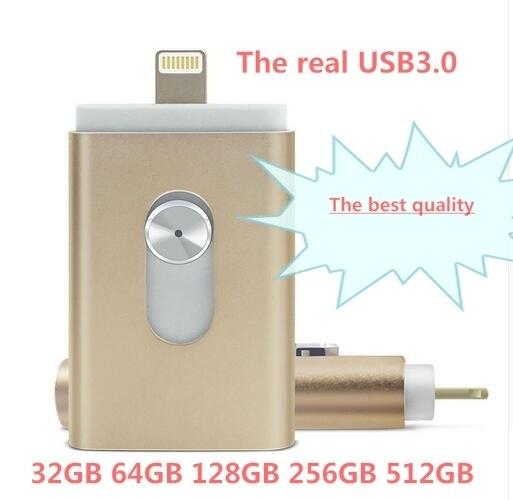 Usb flash drive para iphone 7 6 s 6 plus 5 5S ipad OTG Pendrive 8/16/32/64 gb Pen drive HD de armazenamento externo memory stick Presentes Novo!