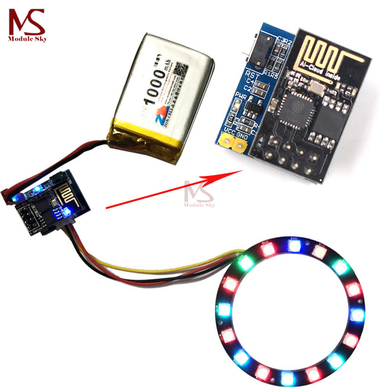 ESP8266 ESP-01 ESP-01S RGB LED Controller Adpater WIFI Module for Arduino IDE WS2812 WS2812B 16 Bits Light Ring Christmas DIY plastic