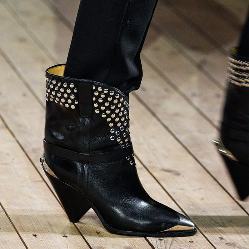 Brand Fashion Metal Iron Pointed Toe High Heels Women Shoes 2019Autumn Winter Studded Boots Runways Genuine Leather Ankle Boots 2018 autumn winter women shoes ankle boots genuine leather pointed toe high heels embroidery black runways shoes tenis feminino