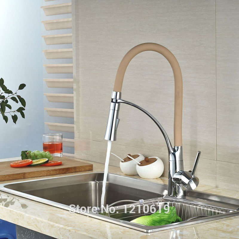 Newly Dark Pink Chrome Kitchen Pull Down Sink Faucet Single Handle Fashion Basin Mixer Faucet Tap Deck Mount kitchen chrome plated brass faucet single handle pull out pull down sink mixer hot and cold tap modern design