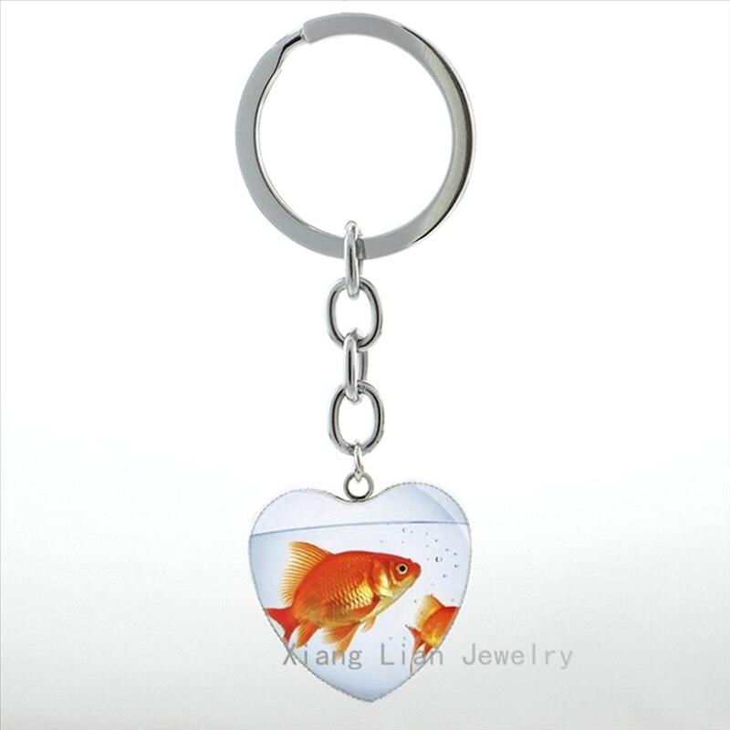 Новые прибытие ryukin золотая рыбка брелок подвеска сердце женщины симпатичные забавный мультфильм довольно русалка с золотая рыбка брелок к...